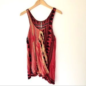 Free People Red Aztec Knit Sweater Tank Top M